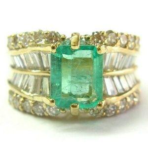 Jewelry - 18Kt Colombian Green Emerald & Multi Shape Diamond